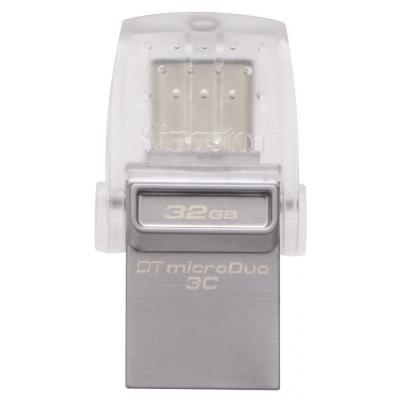 USB флеш накопичувач Kingston 32GB DataTraveler microDuo 3C USB 3.1 (DTDUO3C/32GB) флешка 32 гб : матеріал корпусу - метал+пластик