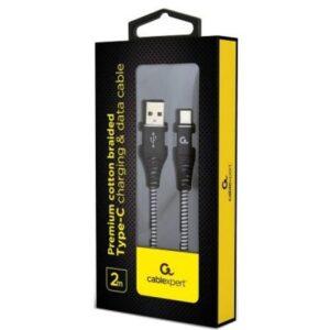 Дата кабель USB 2.0 AM to Type-C 2.0m Cablexpert (CC-USB2B-AMCM-2M-BW)