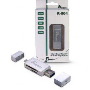 Зчитувач флеш-карт Argus USB2.0, Micro-USB/Lightning, TF, SD (R-004)